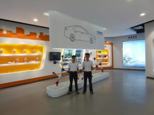 Showroom displaying new polymer products.