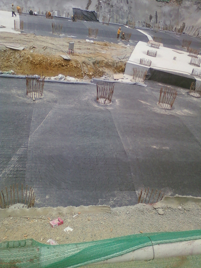 Laying bentonite clay liner for underslab waterproofing, Voltex, Bentofix, basement waterproofing, Bentoseal, Swellseal