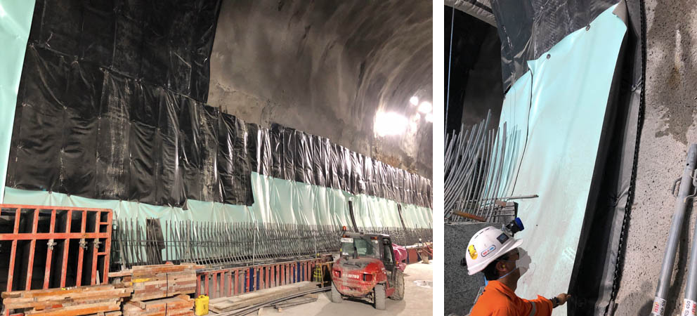 Rail tunnel waterproofing membrane protection and tunnel drainage