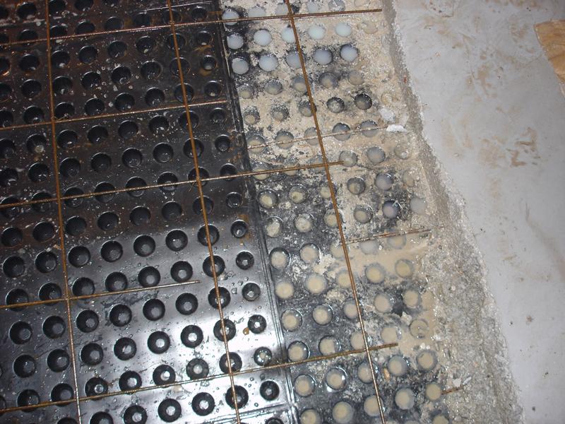 Concrete fill applied