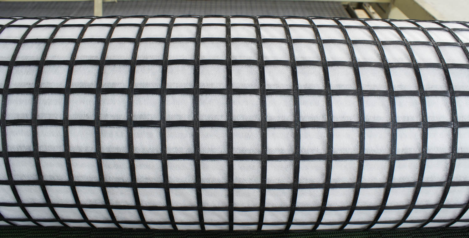composite glass geogrid with self adhesive backing