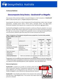 link to GeoDrainSP vs Megaflo strip drain Brochure